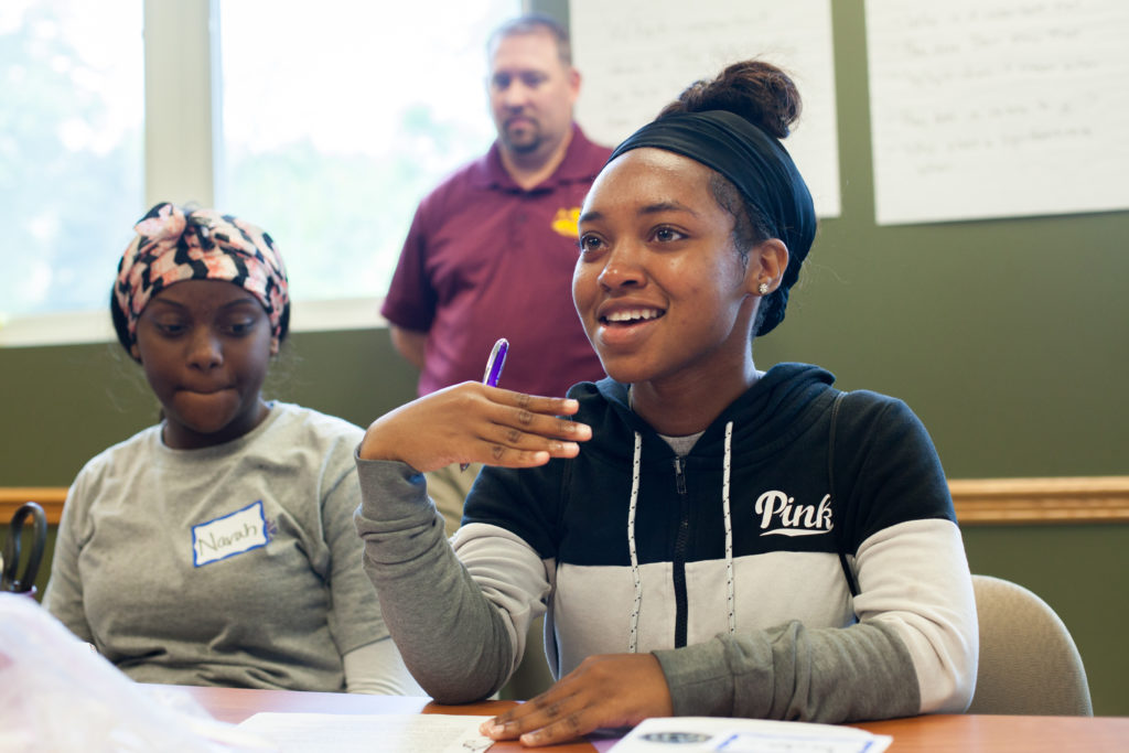 A student participating in a discussion of ALA's Great Stories Club at Pasadena (Calif.) Public Library at Zion-Benton Township High School in Zion, Illinois