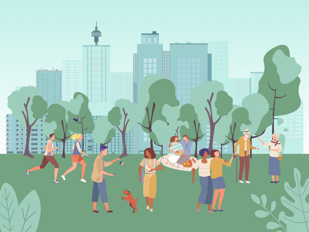 Illustration of people in a city park.
