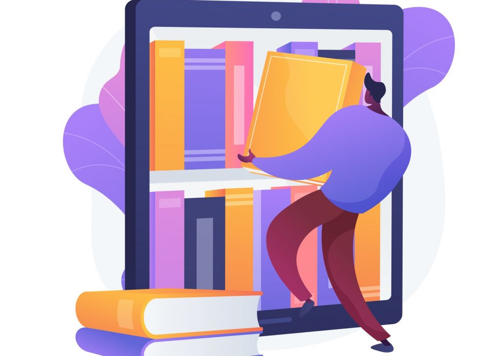 Illustration of a person taking a book from a virtual shelf, symbolizing an ebook.